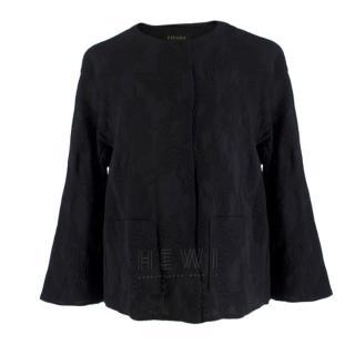 Escada Black Embroidered Silk floral jacket