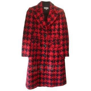 Louis Feraud Red & Black Herringbone Coat