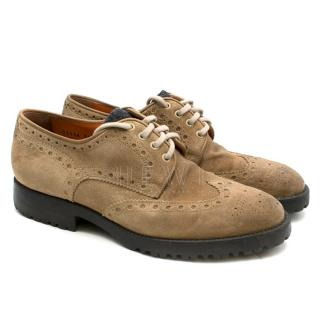 Santoni Suede Lace-Up Camel Beige Brogues