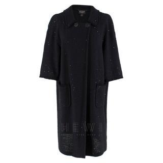 St. John Couture sequin black knit oversize coat