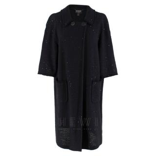 St. John Couture sequin black knit oversize coat