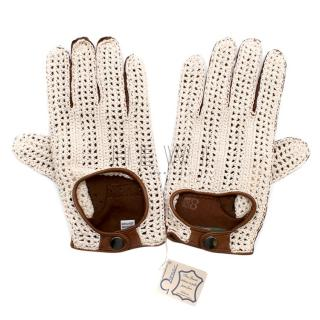 Omega Ivory Crochet & Brown Leather Driving Gloves