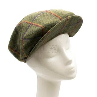 Olney Green Checked Wool Tweed Cap