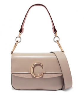 Chlo� C small suede-trimmed leather shoulder bag - New Season