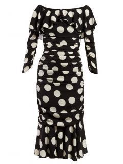 Dolce & Gabbana ruched polka dot midi dress