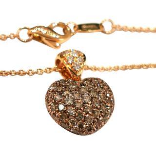 Leo Pizzo Chocolate & White Diamond Set Heart Pendant Necklace