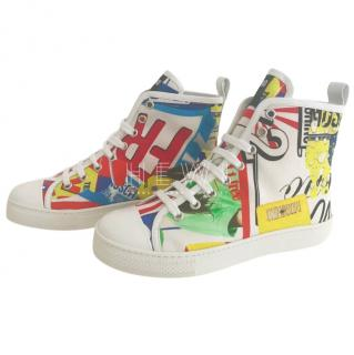 Moschino Couture Logo Print High-Top Trainers