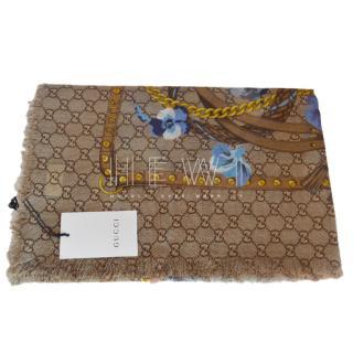 Gucci Monogram Floral Print Wool Shawl