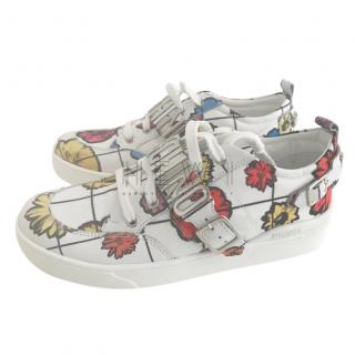 Moschino Couture White Floral Print Sneakers