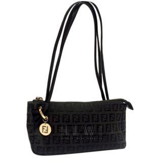 Fendi Vintage Black Zucca Shoulder Bag