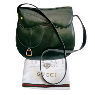 Gucci Vintage Bottle Green Saddle Shoulder Bag