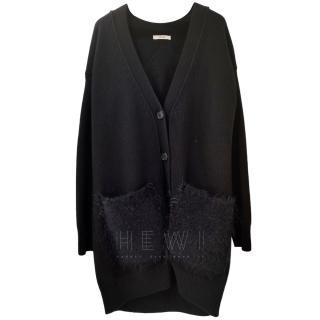 Celine Black Longline Wool Cardigan W/ Fur Trim Pockets