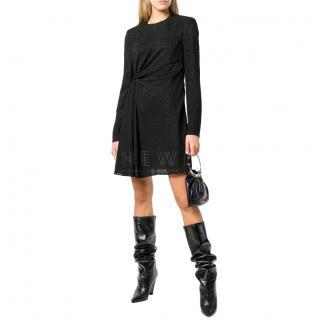 Saint Laurent Black Glitter Gathered Mini Dress