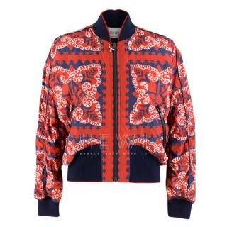 Valentino red & navy logo print bomber jacket