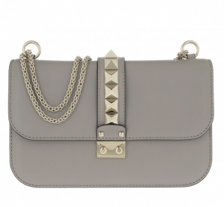Valentino Rockstud Lock Crossbody Bag in Dove Grey