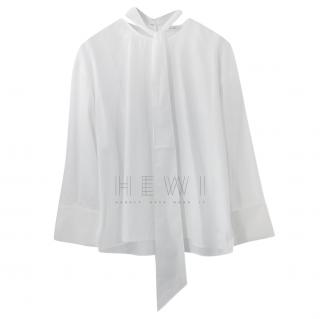 Celine White Pussy Bow Blouse