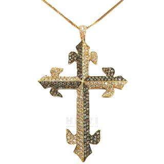 Bespoke 2.26ct Diamond 18ct Gold Cross Pendant Necklace