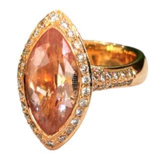 Bespoke Marquise Cut Morganite & Pave Set Diamond Ring