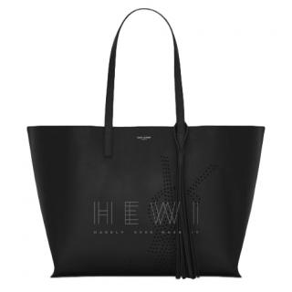 Saint Laurent Perforated Vintage Black Leather Shopping Bag - Current