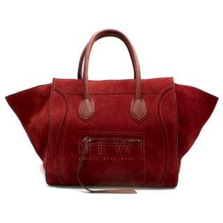 Celine Cherry Red Suede Medium Phantom Bag