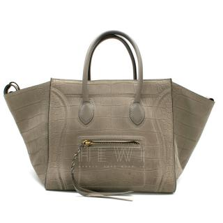 Celine Grey Croc Embossed Phantom Bag
