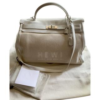 Hermes Two-Tone Clemence Leather & Canvas 40cm Toile Kelly Bag