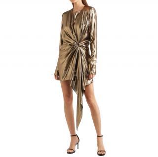 Saint Laurent Metallic Lame Draped Asymmetric Mini Dress