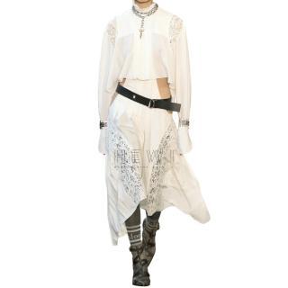 Chloe Lace Paneled Silk Crepe Asymmetric Midi Dress