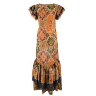 Bespoke Paisley Print Ruffled Midi Dress