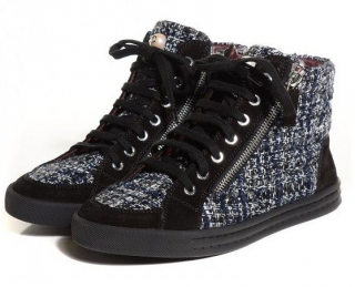 Chanel Tweed & Suede High Top Sneakers