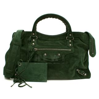 Balenciaga Green Arena Classic Suede City Bag