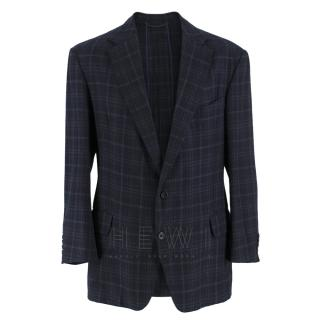 Hardy Amies Navy Blue Check Wool Men's Coat