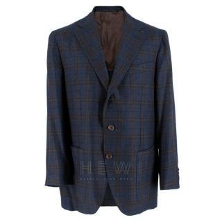 Doriani Navy Checked Wool, Cashmere & Silk Blend Blazer