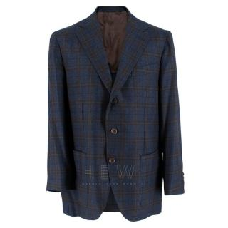 Doriani Navy Checked Wool, Cashmere & Silk Blend Blazer