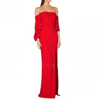 Roland Mouret Red Octon Off-The-Shoulder Gown