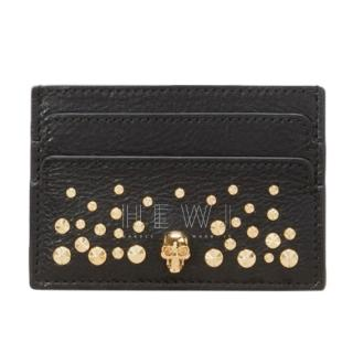 Alexander McQueen Skull Studded Leather Card Holder