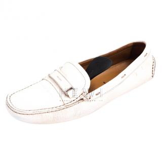 Prada White Leather Loafers