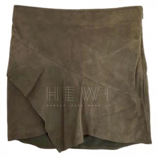 Ba&sh Mala Suede Ruffle Mini Skirt