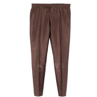 Etro Brown Silk with Purple & Orange patterned trousers
