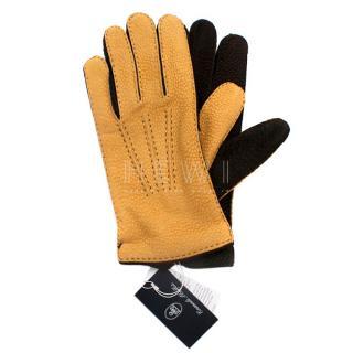 Emanuele Maffeis Luxurious Leather Mustard Gloves