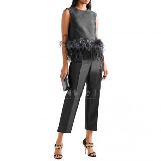 Prada Wool & Silk Feather Trim Top