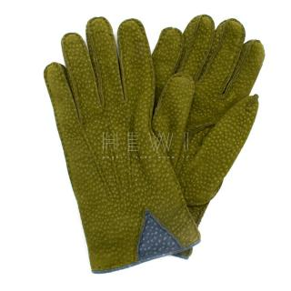 Soli Olive Green Leather & Cashmere Gloves