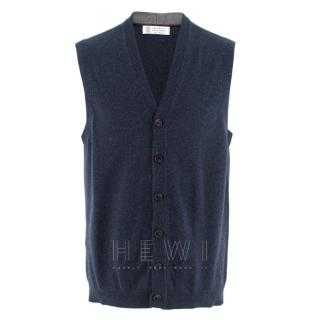 Brunello Cucinelli Cashmere Blue Sleeveless Cardigan