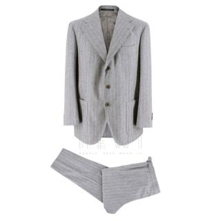 Gianni Volpe Grey Wool Bespoke Pin Striped Suit