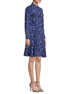 Derek Lam Blue Brushstroke Print Dress