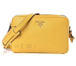 Prada Yellow Leather Camera Bag