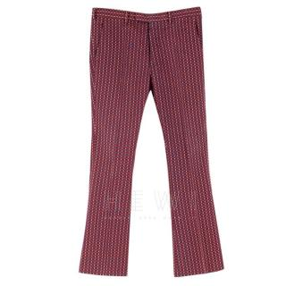 Prada Red Cotton Patterned Flared Smart Trousers