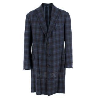Hardy Amies Navy Blue Check Wool Men's Longline Coat