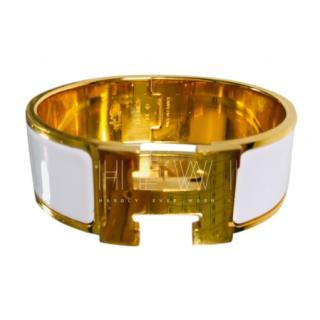 Hermes White Clic H Wide Bracelet