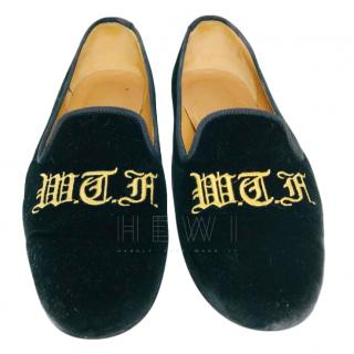 Stubbs & Wootton Velvet Embroidered Slippers